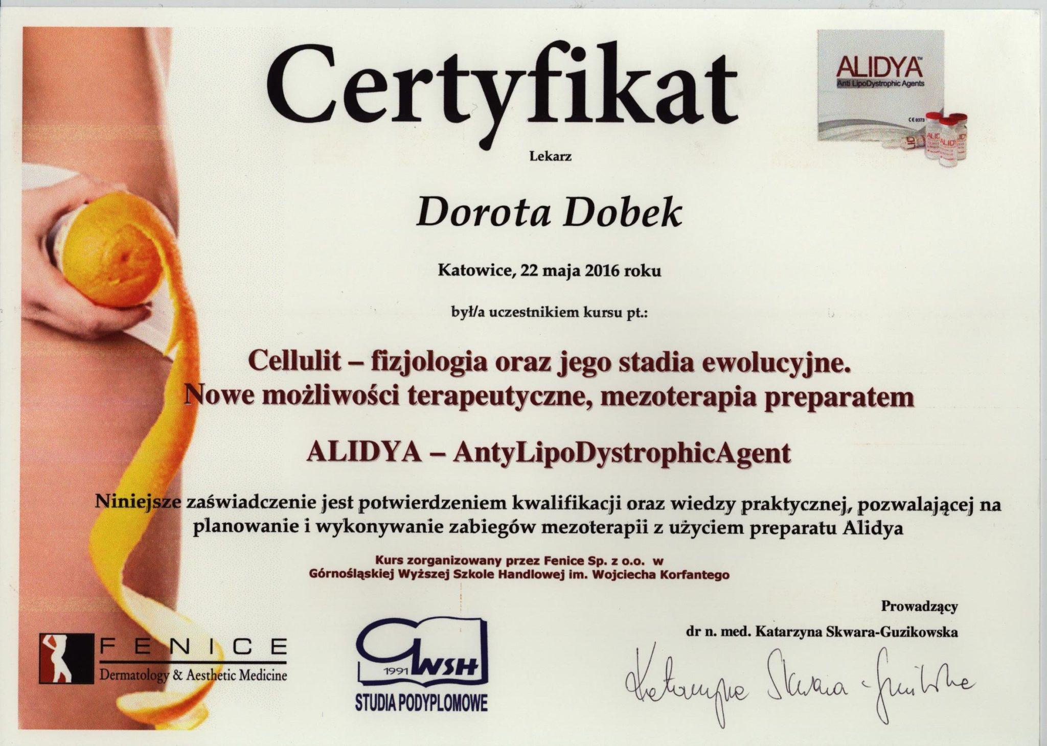 callulit, medycyna estetyczna, certyfikat - Dorota Dobek