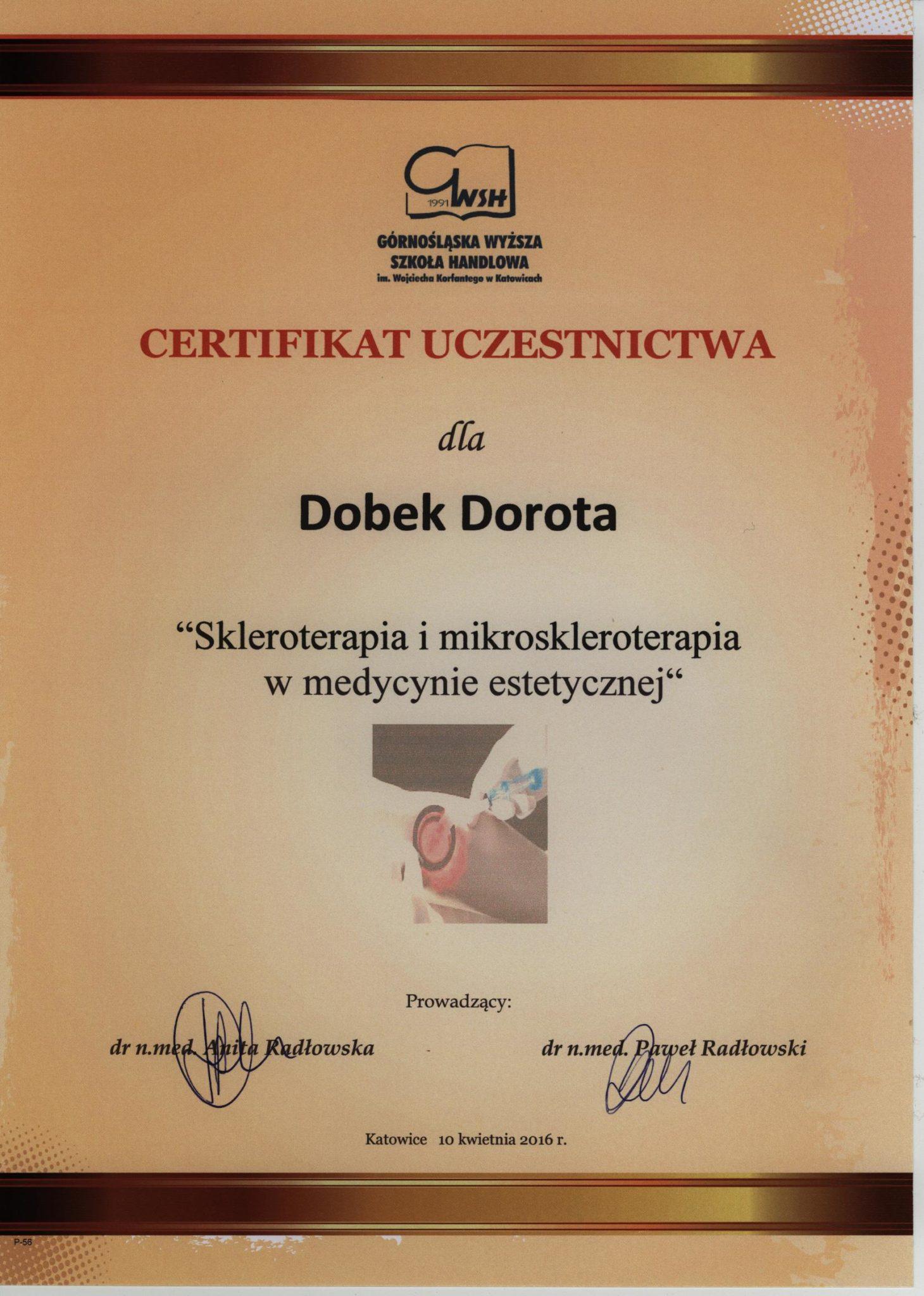 skleroterapia w medycynie estetycznej, certyfikat