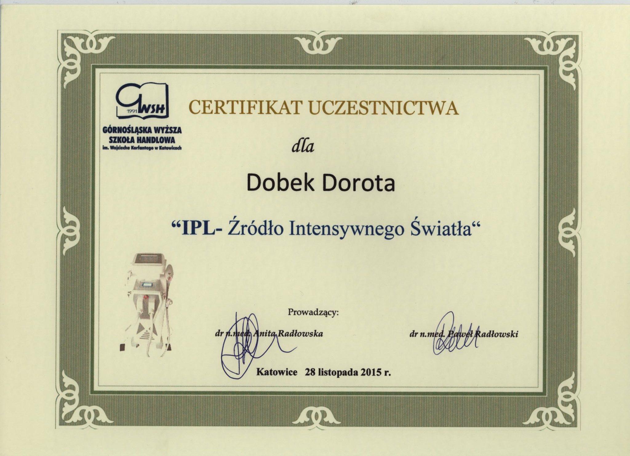 ipl certyfikat medycyna estetyczna
